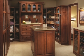 Traditional Master Walk-In Closet with Island