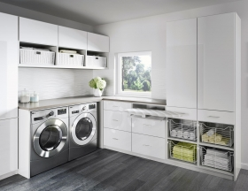 Modern-Laundry-Room-White-with-Wire-Baskets-and-Pull-out-Ironing-Board