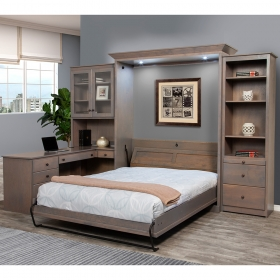 Home-Office-Wall-Murphy-Bed-Wood-Color-Open