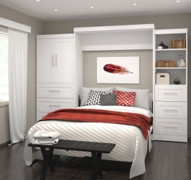 White-Wall-Murphy-Bed-with-Side-Cabinets-and-Storage-Open