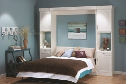 White Murphy Bed Expanded