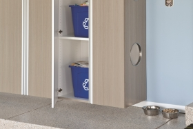 Driftwood Cabinets with Recycling Bins