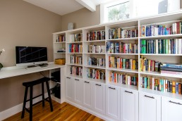 Built-In White Bookcases