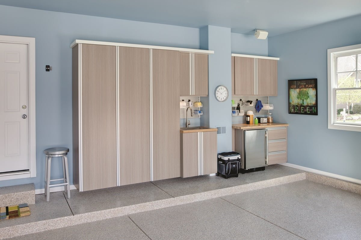garage cabinetry and flooring portland closet company driftwood garage cabinets