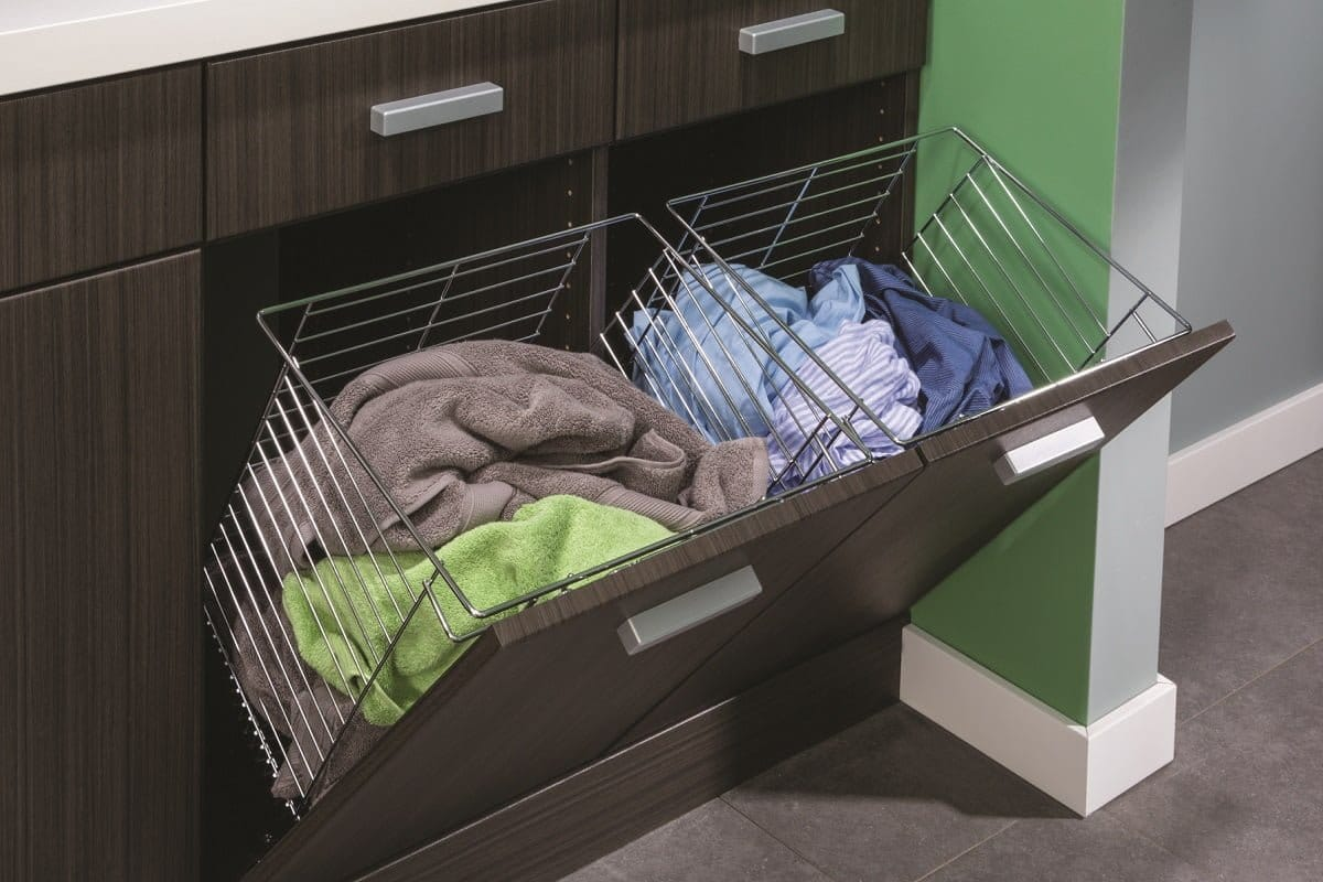 Custom laundry and utility rooms portland closet company - Laundry hampers for small spaces plan ...