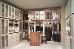 White and Wood Walk-In Closet