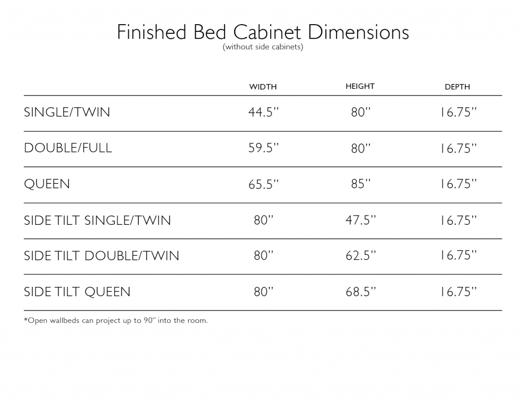 Spec Sheet with Dimensions for Wall Bed Cabinets