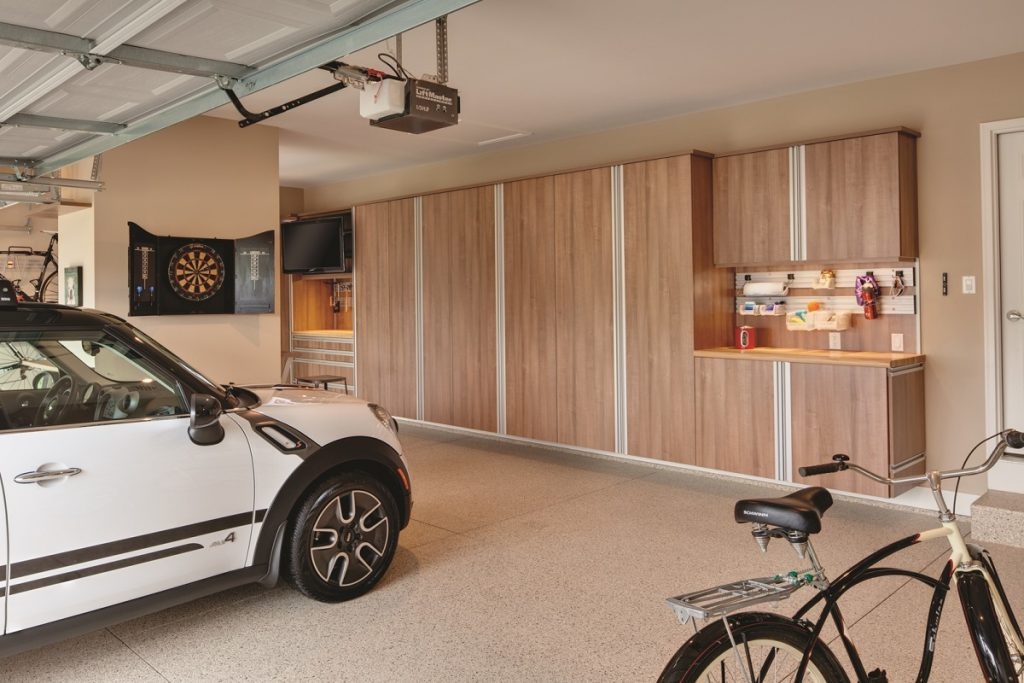 Multipurpose garage has room for cars, bikes, games, bar, and more.